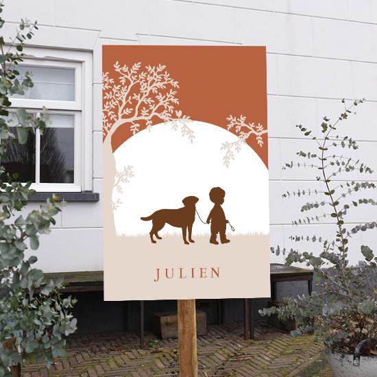 tuinbord geboortekaartje jongen met hond silhouet